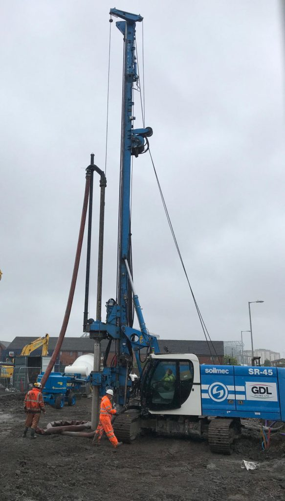 Displacement augur piling in Glasgow